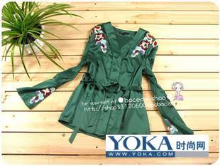 大牌风范 民族刺绣丝质款衬衣 angle7ankle的时尚图片 YOKA时尚空间