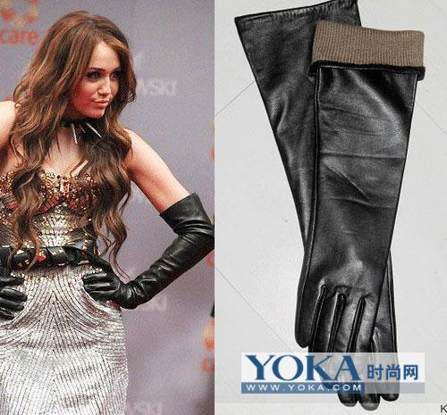 今年冬天比较寒冷,黑色长款皮手套搭配马甲皮草图片