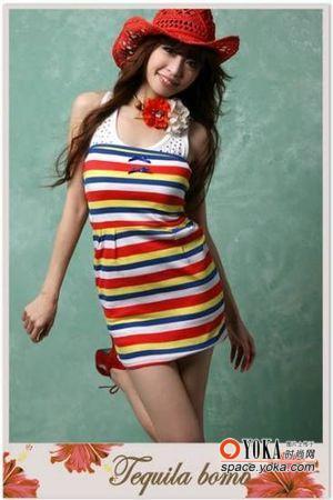 夏季服饰图片-夏日动感条纹服饰穿出魅力图片