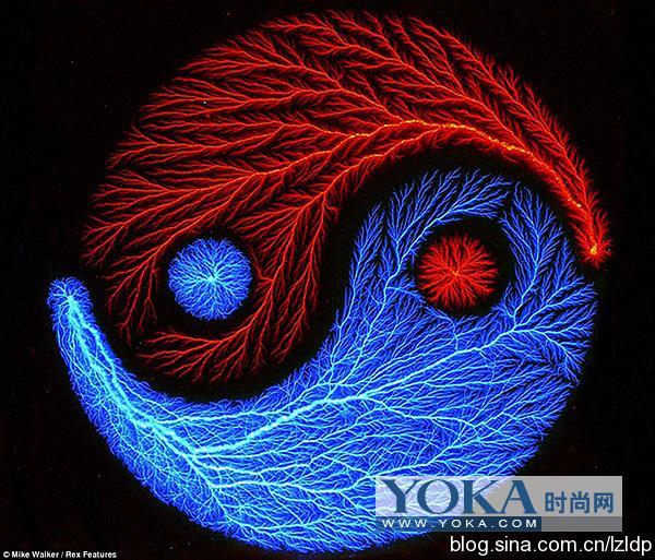500万伏电压制造出的炫丽闪电图案图片